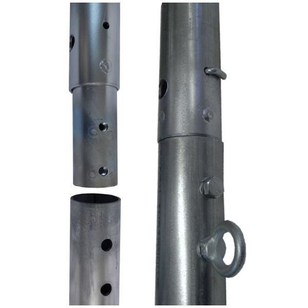 単管杭にネットを張って鳥獣対策!、打込み長さ約600mm・支柱高さ1M、杭と支柱の2パーツ、杭の長さは打込みやすい700mm、鳥獣ネットとしても!|shop-shinkou|04