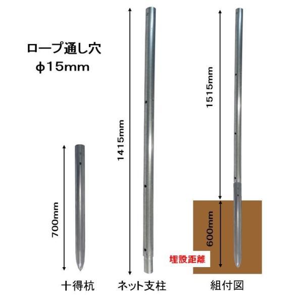 鳥獣対策を単管杭で!支柱の高さは1.5M・打込み長さ約600mm、杭と支柱の2パーツ、杭の長さは打込みやすい700mm、いろんなネットが張れる。|shop-shinkou|05