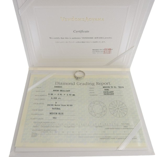 ヴァンドーム青山 VENDOME AOYAMA ピンキー リング 指輪 プラチナ Pt950 ダイヤモンド 0.225ct 4号 鑑付 本物保証 超美品 shop-takashimaya7 05