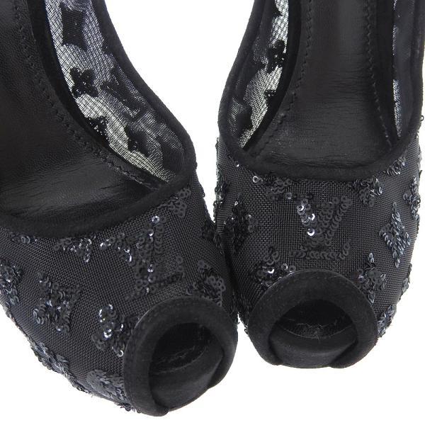 ルイヴィトン LOUIS VUITTON ヒール スパンコール LV ロゴ パンプス ブラック 38 本物保証 美品|shop-takashimaya7|03