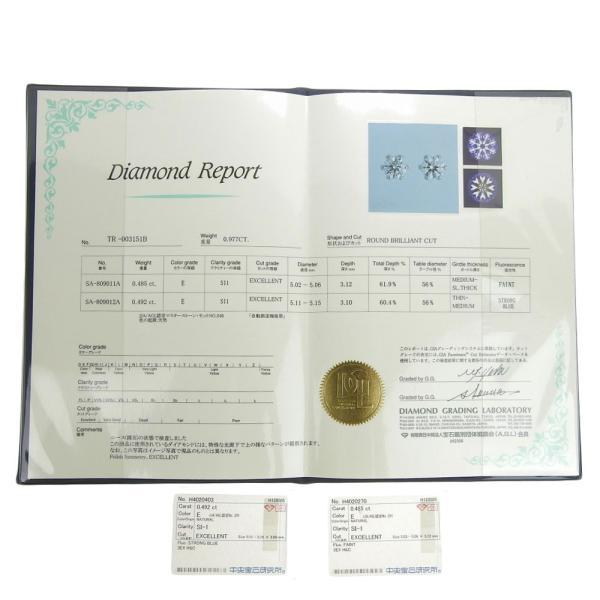 本物保証 超美品 ノーブランド OTHER BRAND 一粒石 ピアス プラチナ Pt900 ダイヤ 0.492ct/0.485ct 1.6g|shop-takashimaya7|06