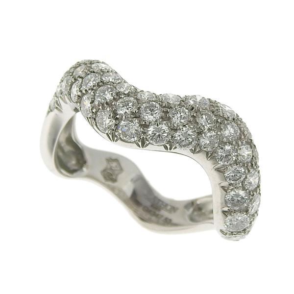 本物保証 超美品 マットン MATHON ウェーブ リング 指輪 K18WG ダイヤモンド #53|shop-takashimaya7