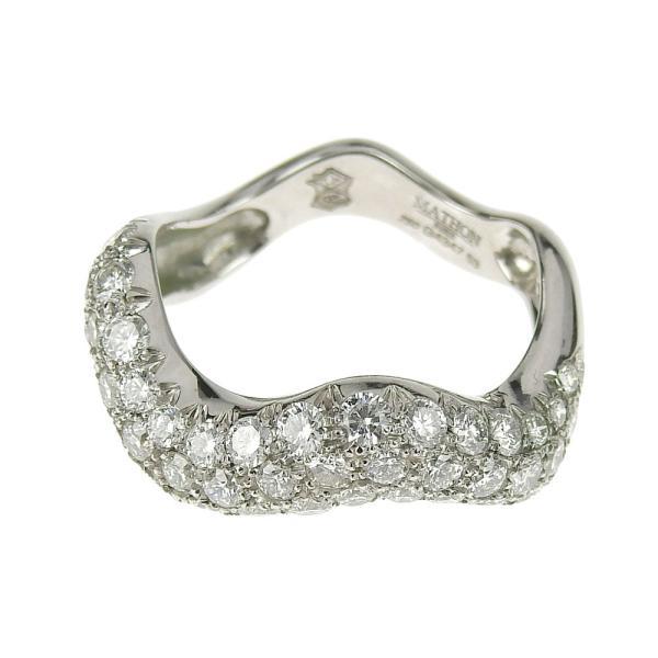 本物保証 超美品 マットン MATHON ウェーブ リング 指輪 K18WG ダイヤモンド #53|shop-takashimaya7|02