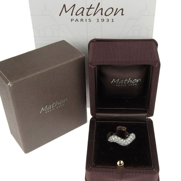 本物保証 超美品 マットン MATHON ウェーブ リング 指輪 K18WG ダイヤモンド #53|shop-takashimaya7|06