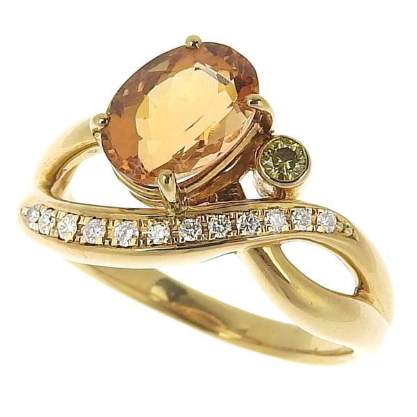 本物保証 超美品 タサキ TASAKI リング 指輪 K18YG インペリアルトパーズ2.36ct メレダイヤ0.13ct 6.4g 17号|shop-takashimaya7