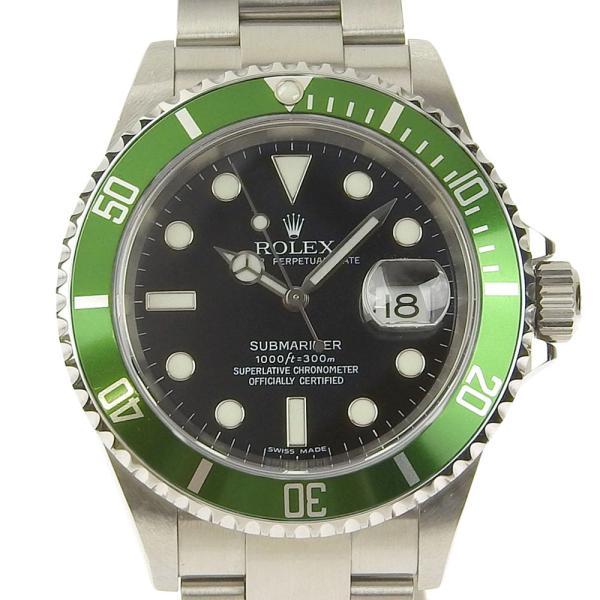 本物保証 美品 ロレックス ROLEX サブマリーナ グリーンベゼル ノンポリッシュ メンズ 腕時計 16610LV D番|shop-takashimaya7