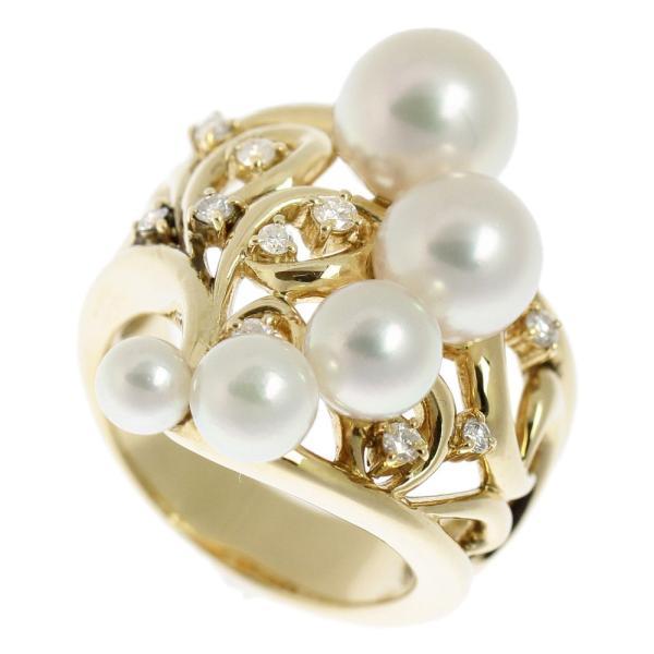 本物保証 超美品 ノーブランド OTHER BRAND 真珠 リング K18YG パール 5個入 メレダイヤモンド 0.19ct 12号 オシャレ おしゃれ|shop-takashimaya7