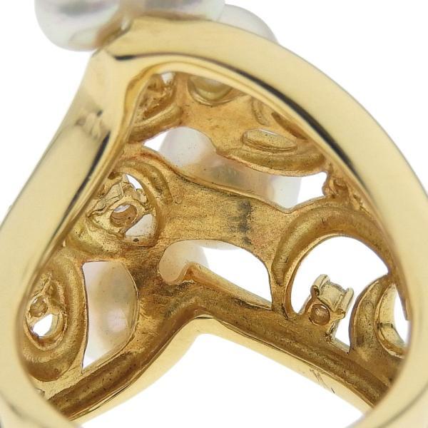 本物保証 超美品 ノーブランド OTHER BRAND 真珠 リング K18YG パール 5個入 メレダイヤモンド 0.19ct 12号 オシャレ おしゃれ|shop-takashimaya7|04