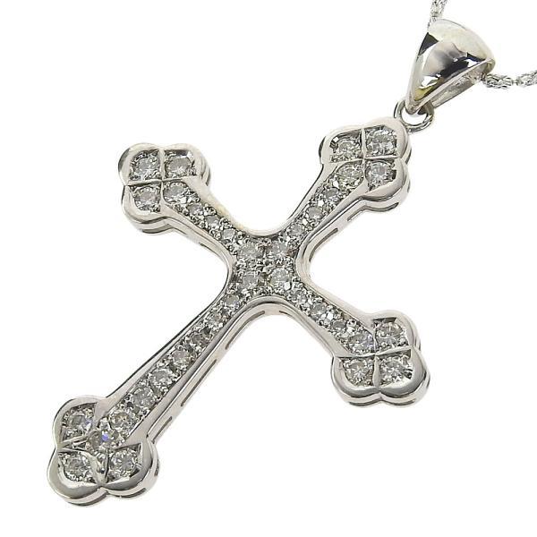 本物保証 超美品 ノーブランド OTHER BRAND クロス 十字架 ネックレス K18WG メレダイヤモンド 1.07ct|shop-takashimaya7