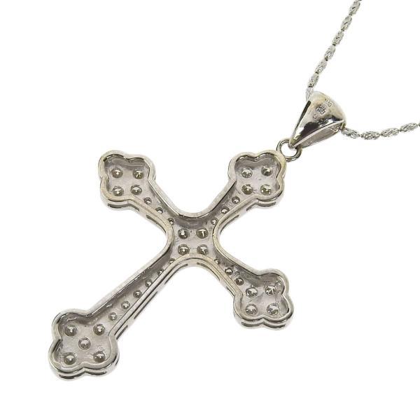 本物保証 超美品 ノーブランド OTHER BRAND クロス 十字架 ネックレス K18WG メレダイヤモンド 1.07ct|shop-takashimaya7|03