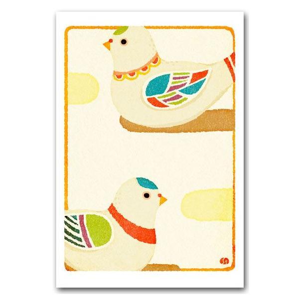 和風イラストポストカード 版画風 鳩笛 絵葉書 和道楽