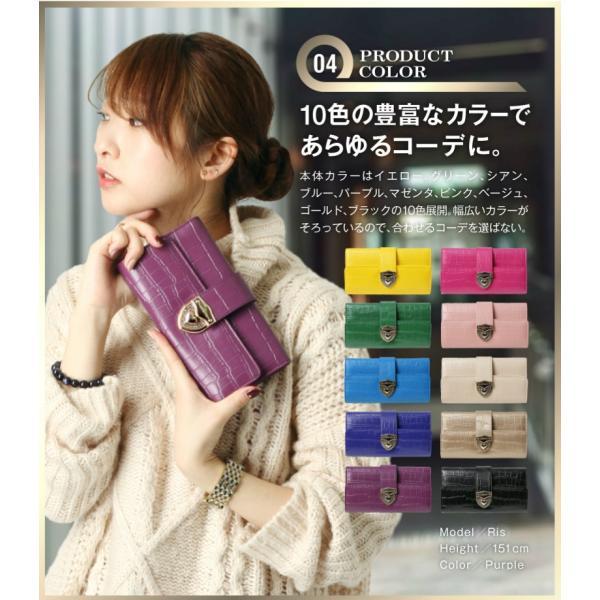 長財布 財布 本革 レディース 2つ折り 長財布 レザー クロコダイル 柄の型押し レザー PD56ギフト対応|shop-ybj|10