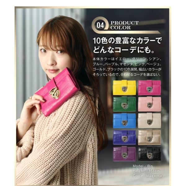 財布 2つ折り財布 レディース 二つ折り クロコダイル ミニ財布 ブランド  PD55 通|shop-ybj|10