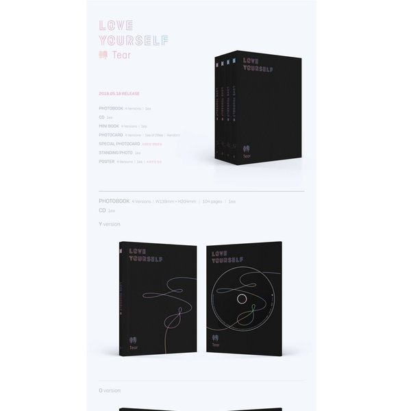 【VER選択】【全曲和訳】BTS LOVE YOURSELF 轉 Tear 3rd  防弾少年団 正規 3集【ポスター選択 l レビューで生写真5枚 l 送料無料】|shop11|02
