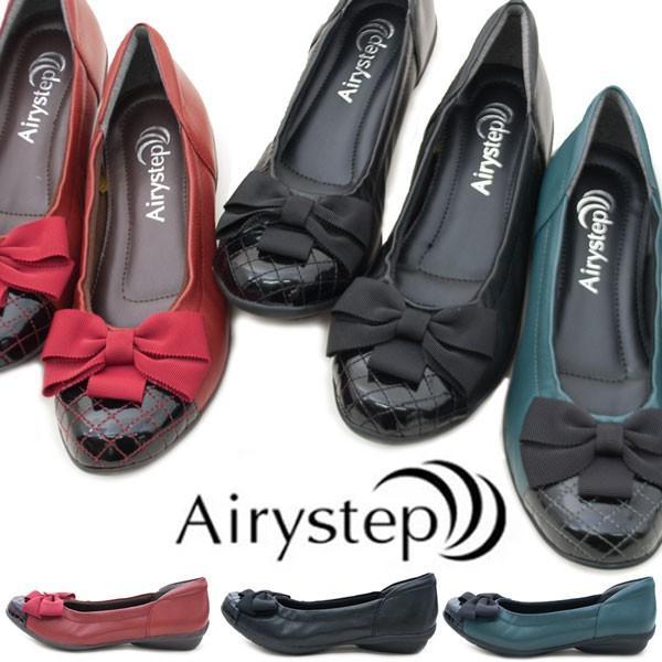 AiryStepエアリーステップKA6319レディースパンプス痛くないリボンフォーマルビジネスリクルート3E相当幅広ワイド本革女