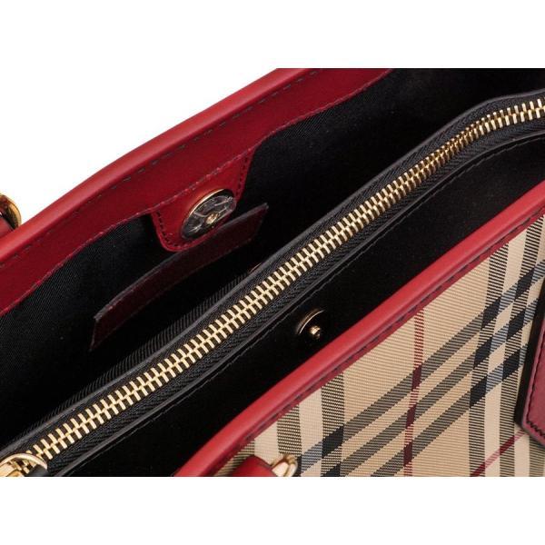 BURBERRY バーバリー ハンドバッグ 2017年春夏新作 4042835 HORSEFERRY CHECK MEDIUM BAG HONEY/PARADE RED ハニー×レッド バーバリーチェック