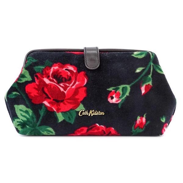 Cath Kidston キャスキッドソン クラッチバッグ 634458 VELVET FRAME CLUTCH レディース 花柄 CHARCOAL チャコール