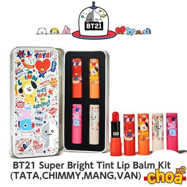 BT21 Super Bright Tint Lip Balm Kit [TATA,CHIMMY,MANG,VAN] 4P BTS-防弾少年団 BT21コラボ公式商品 バンタン bts 公式グッズ|shopchoax2