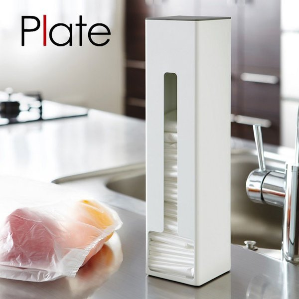 ポリ袋ストッカー Plate(プレート) ホワイト 白 キッチン ゴミ袋 ごみ袋 収納 シンプル おしゃれ インテリア