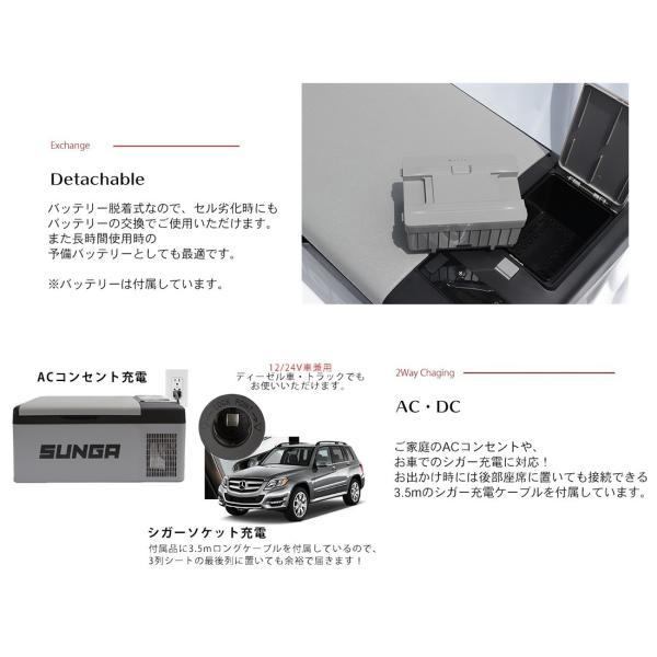 車載冷蔵庫 バッテリー搭載 15L ポータブル 冷蔵庫 冷凍庫 保冷庫 12V/24V両用 -20℃〜20℃ アウトドア キャンプ 車中泊|shopduo|04