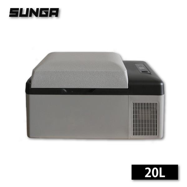 車載冷蔵庫 20L ポータブル 冷蔵庫 AC/DC 冷凍庫 保冷庫 -20℃〜20℃ 12V/24V両用 アウトドア キャンプ 車中泊|shopduo