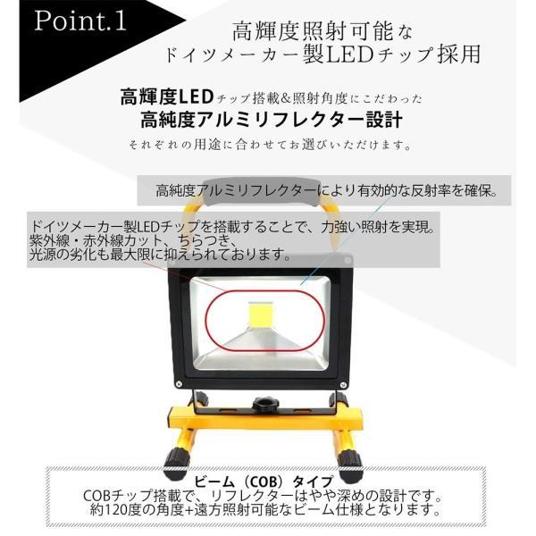 20W LED 投光器 充電式 COB SMDチップ 昼光色 スマホ充電可能 PSE規格 IP65防水防塵 サーチライト 作業灯 ポータブル投光器|shopduo|04