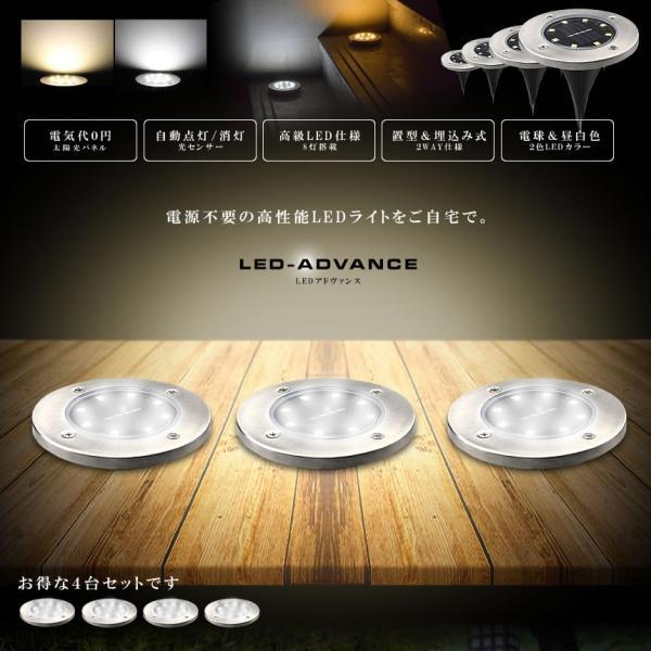 LEDアドヴァンス 4台セット 32LED ソーラー 光センサー 夜間自動点灯 埋め込み式 防水 ライト 防犯 庭 芝生 4-LEADVAN|shopeast|02