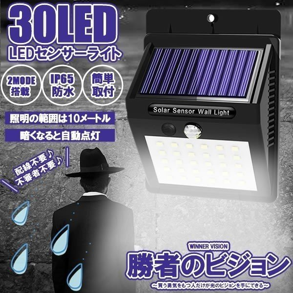 勝者のビジョンライト 爆光 30個 LED 人感 センサーライト 屋外 ソーラー 太陽光 3モード 自動点灯 防水 防犯ライト 防災 配線不要 SYOUVISION