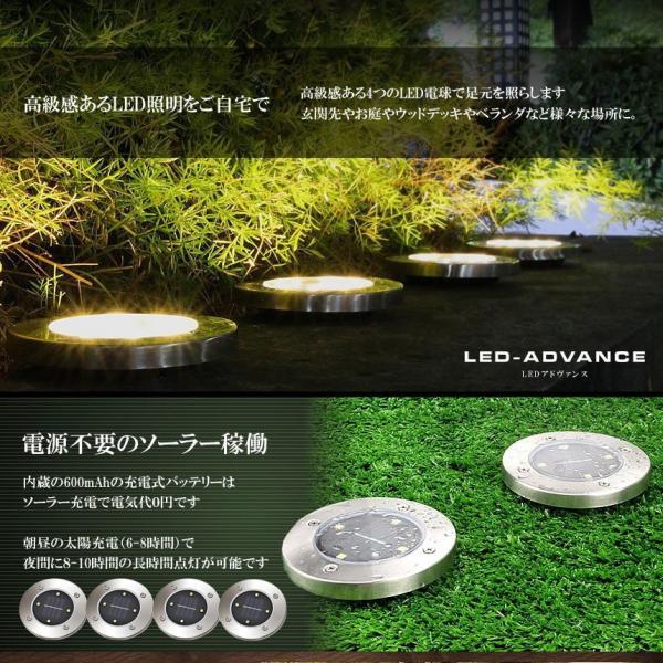 埋め込み式 ソーラー ライト LED 8個セット 4LED 電気代0円 自動点灯 スポットライト 防水対応 ガーデン 玄関 屋外照明 太陽光充電 遊歩道 庭 夜間 8-GADEN-YE|shopeast|03