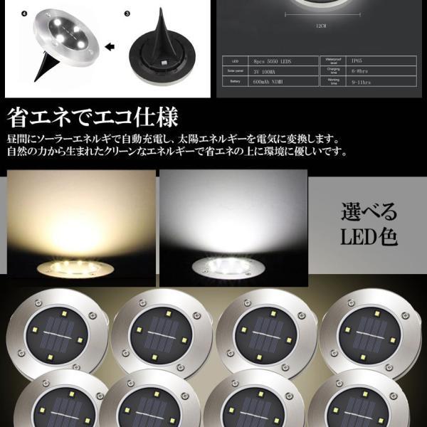 埋め込み式 ソーラー ライト LED 8個セット 4LED 電気代0円 自動点灯 スポットライト 防水対応 ガーデン 玄関 屋外照明 太陽光充電 遊歩道 庭 夜間 8-GADEN-YE|shopeast|06