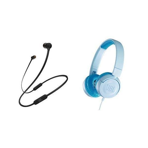 JBL T110BT Bluetooth イヤホン ブラック + JR300 子供向け ヘッドホン 音量制御機能搭載 クリアブルー JBLT