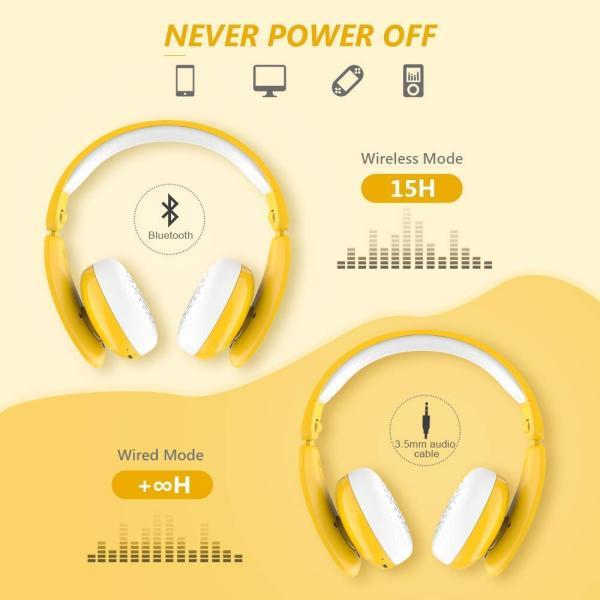 MindKoo 子供用ヘッドホン Bluetooth キッズ ヘッドホン ワイヤレス ヘッドセッド 折り畳み式 ボリューム制限 有線無線兼用|shopnoa|07