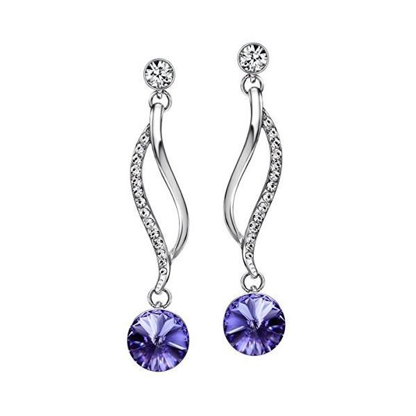 (ネオグロリー)Neoglory Jewelry スワロフスキーからクリスタル飾る 紫 アメシスト ホワイトゴールドピアス レディース キャ