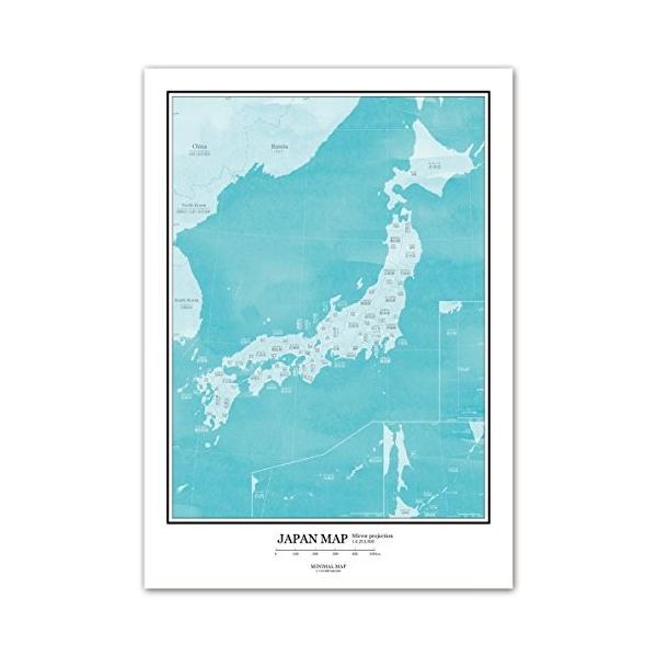 おしゃれな日本地図 都道府県名と県庁所在地がふりがな付きで書いてあるから就学前&小学生のお子様におすすめ (A3 フレームなし, 水彩グリー shopnoa 07