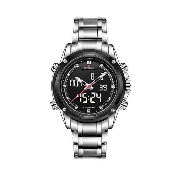 NaviForce メンズ スポーツ ステンレス LED カレンダー デュアル タイム表示クォーツ ・ デジタル時計白