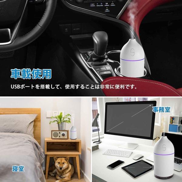 卓上加湿器 LANJU アロマ加湿器 2018最新 アロマディフューザー USB超音波式 加湿器 300MLミニ型 車用加湿器 7色LEDラ