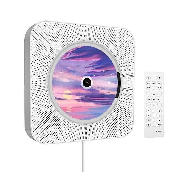 CDプレーヤー卓上&壁掛け式CDラジオ1台多役小型ポータブルcd/Bluetooth/FM/USB/AUX対応新版リモコン付き