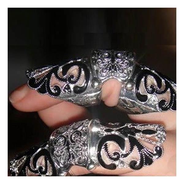 リング 指先つけ爪 指輪 レディース アンティーク調 シルバーブラック|shoppersla|05