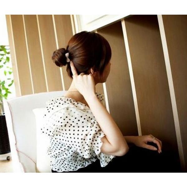 ヘアゴム リボン パールデザイン 髪飾り レディース