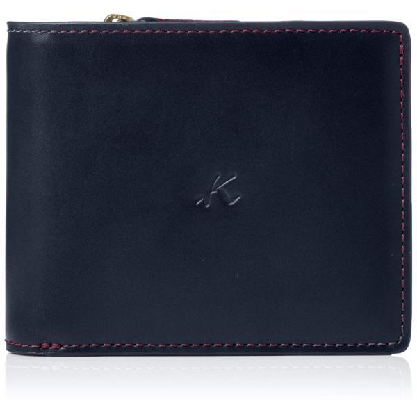 キタムラ 二折財布ZH0379ダークブルー/ワインステッチ 紺 10711