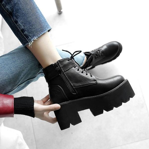 厚底 韓国 ショート ブーツ ブーティ レディース靴 カジュアル 可愛い 疲れにくい 美脚効果抜群