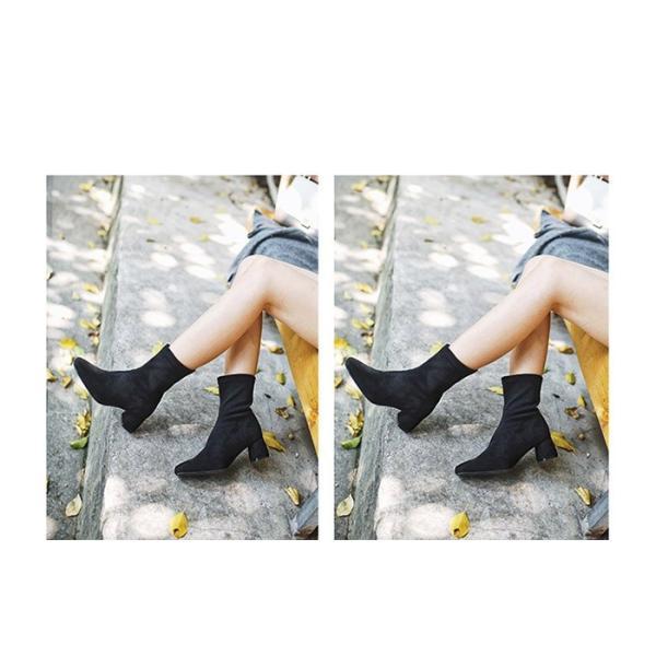 ソックスブーツ 太ヒール ブーティー レディース 疲れにくい 歩きやすい 大人 レディース靴