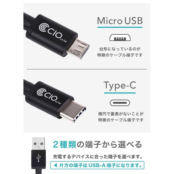 急速充電 ケーブル android USB Type-C Micro USB QualComm QuickCharge3.0 クイックチャージ 50cm 1m 2m|shops-of-the-town|02
