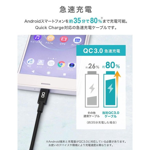 急速充電 ケーブル android USB Type-C Micro USB QualComm QuickCharge3.0 クイックチャージ 50cm 1m 2m|shops-of-the-town|03