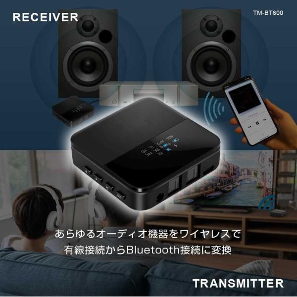 bluetooth トランスミッター 送信機 受信機 レシーバー イヤホン テレビ 光 TX RX 2台同時 ブルートゥース5.0 あすつく