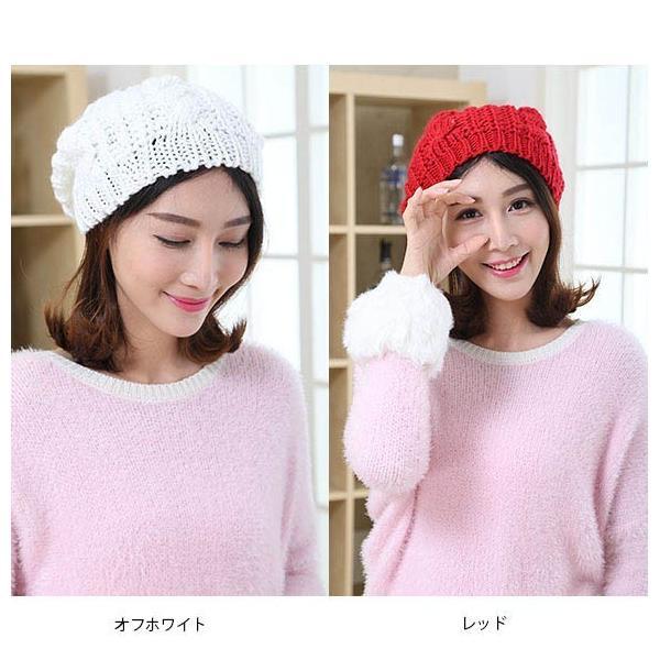 レディース 帽子 ニットベレー帽 ニット帽 ベレー帽 ゆったり 秋 冬 ふわふわ 毛糸 暖か ざっくり 編み ベーシック mz2288|shopzero|07