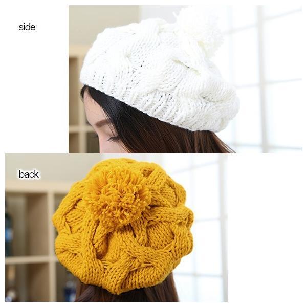 レディース 帽子 ポンポン付きニット帽 ニットベレー 毛糸帽子 mz2320|shopzero|08