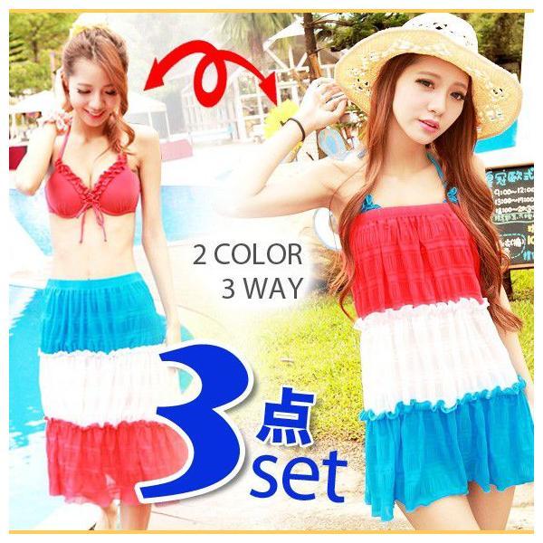 レディース 水着3点セット ビキニ 2way シフォン ワンピース 大きいサイズ 夏 yy2491|shopzero
