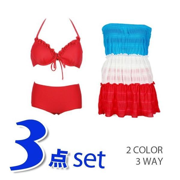 レディース 水着3点セット ビキニ 2way シフォン ワンピース 大きいサイズ 夏 yy2491|shopzero|05