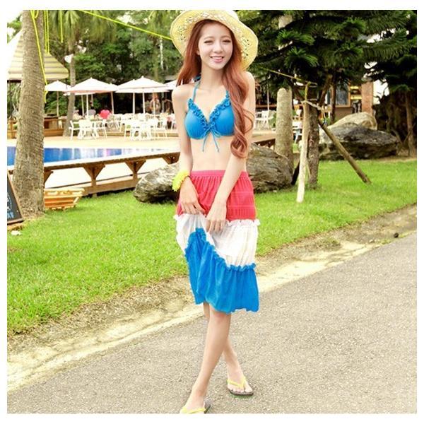 レディース 水着3点セット ビキニ 2way シフォン ワンピース 大きいサイズ 夏 yy2491|shopzero|08